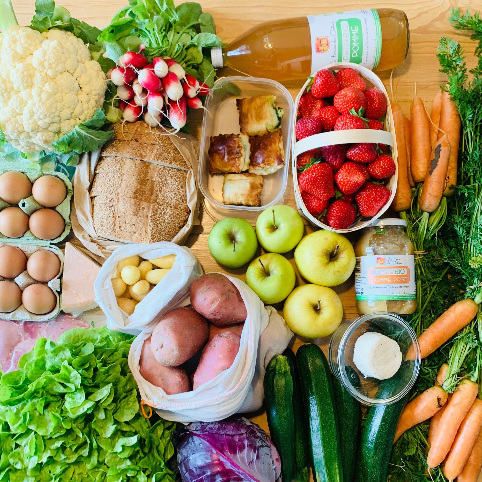 fruits et légumes frais dans des emballages respectant l'environnement